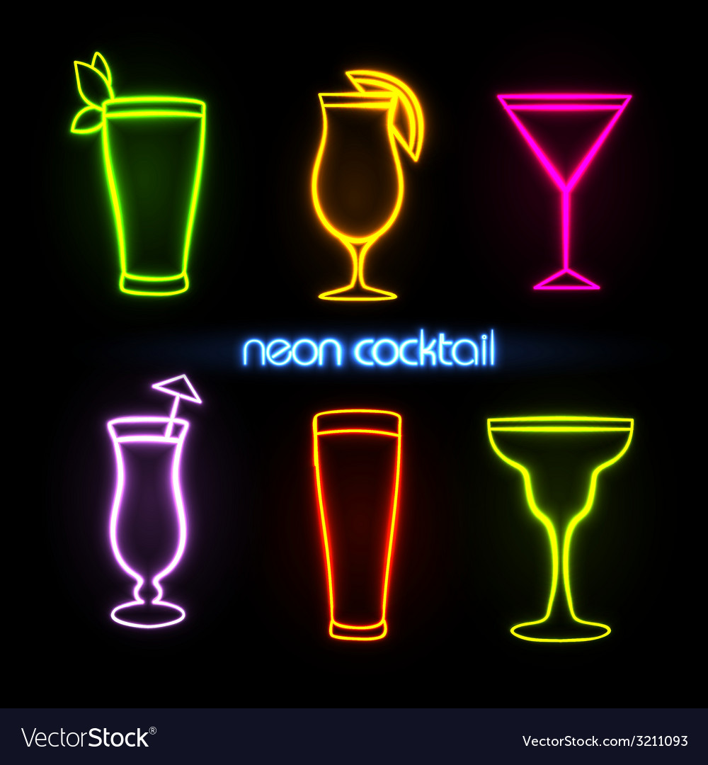 Neon sign cocktail vector