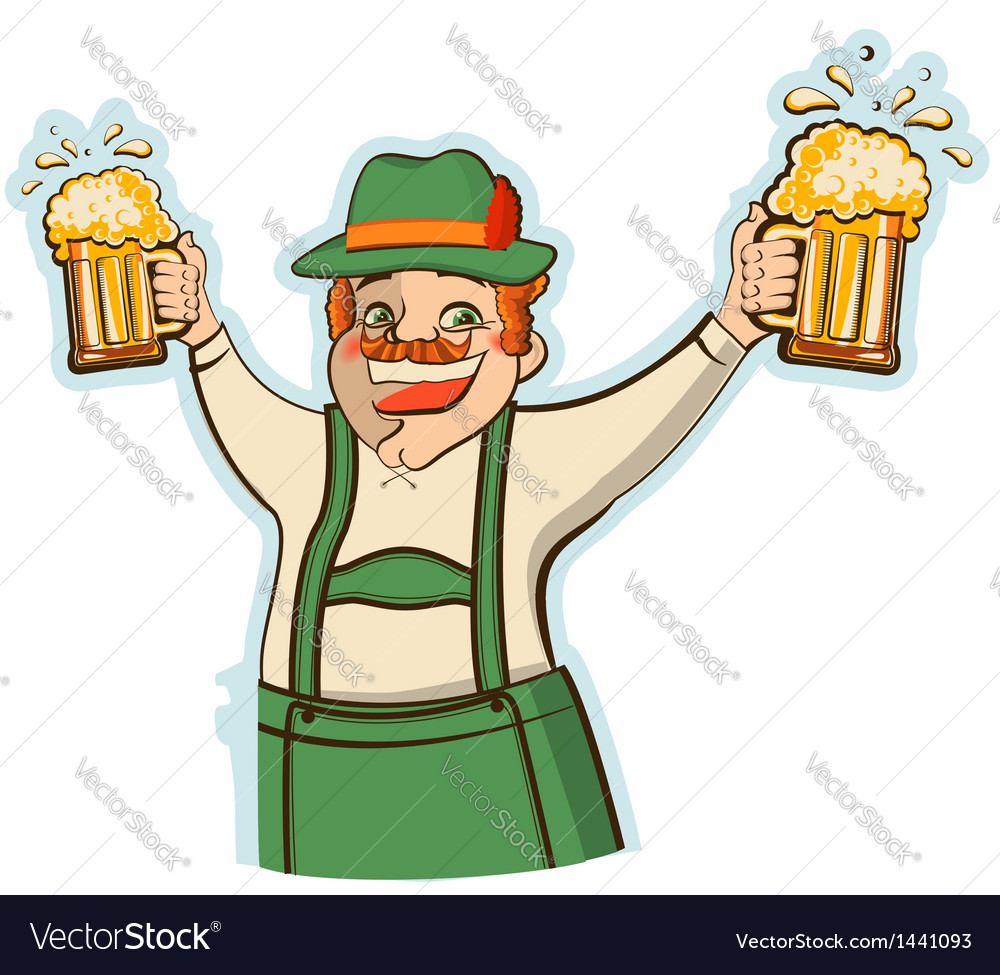 Oktoberfest man with glasses of beer isolate vector | Price: 1 Credit (USD $1)