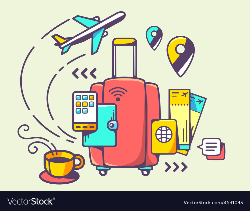 Red suitcase and travel accessories vector | Price: 1 Credit (USD $1)