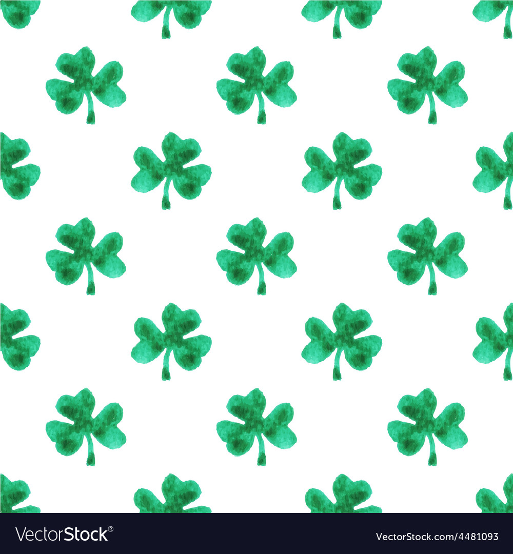 Seamless watercolor pattern with clover leaves on vector | Price: 1 Credit (USD $1)