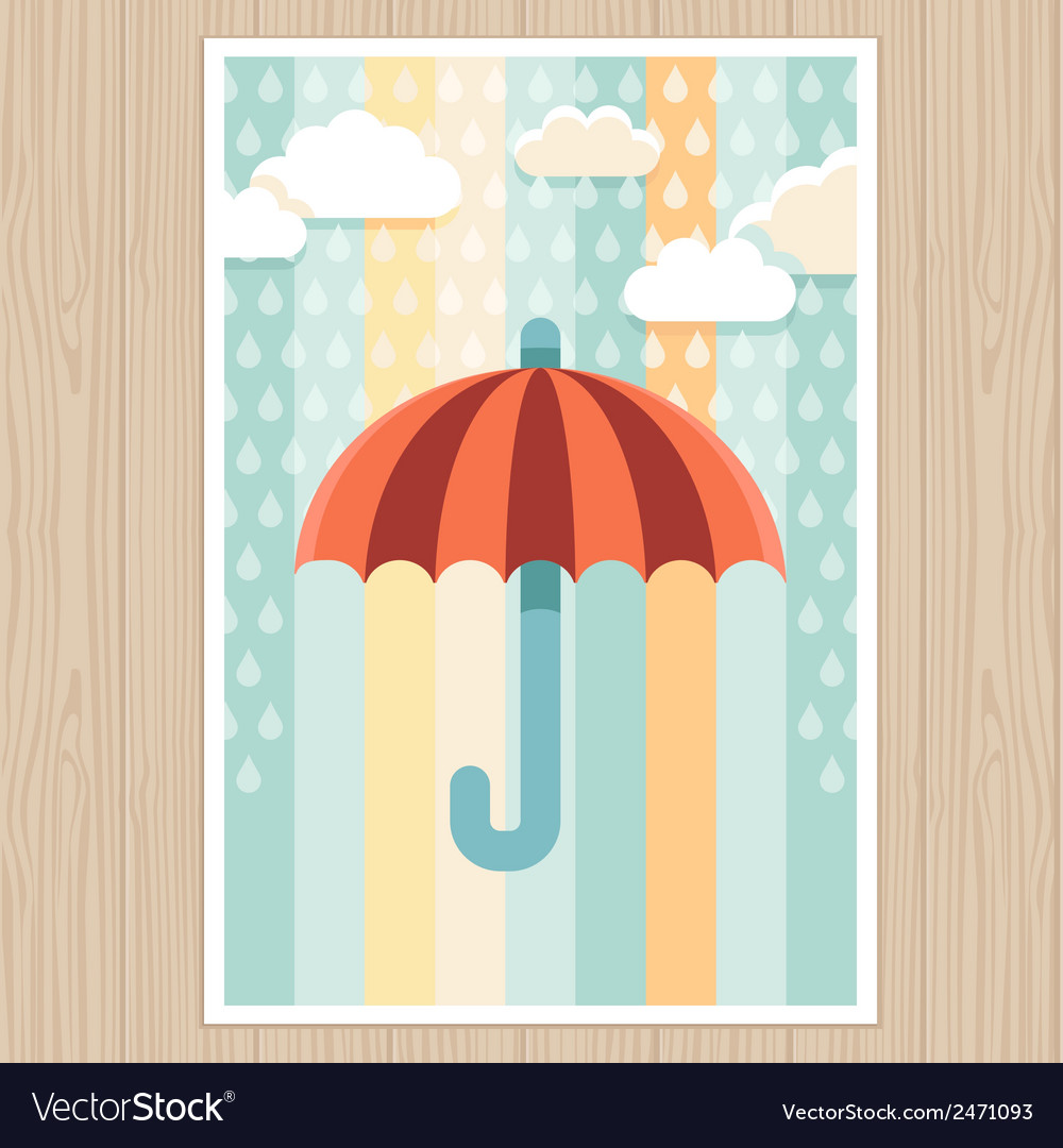 Striped umbrella and rain drops vector | Price: 1 Credit (USD $1)