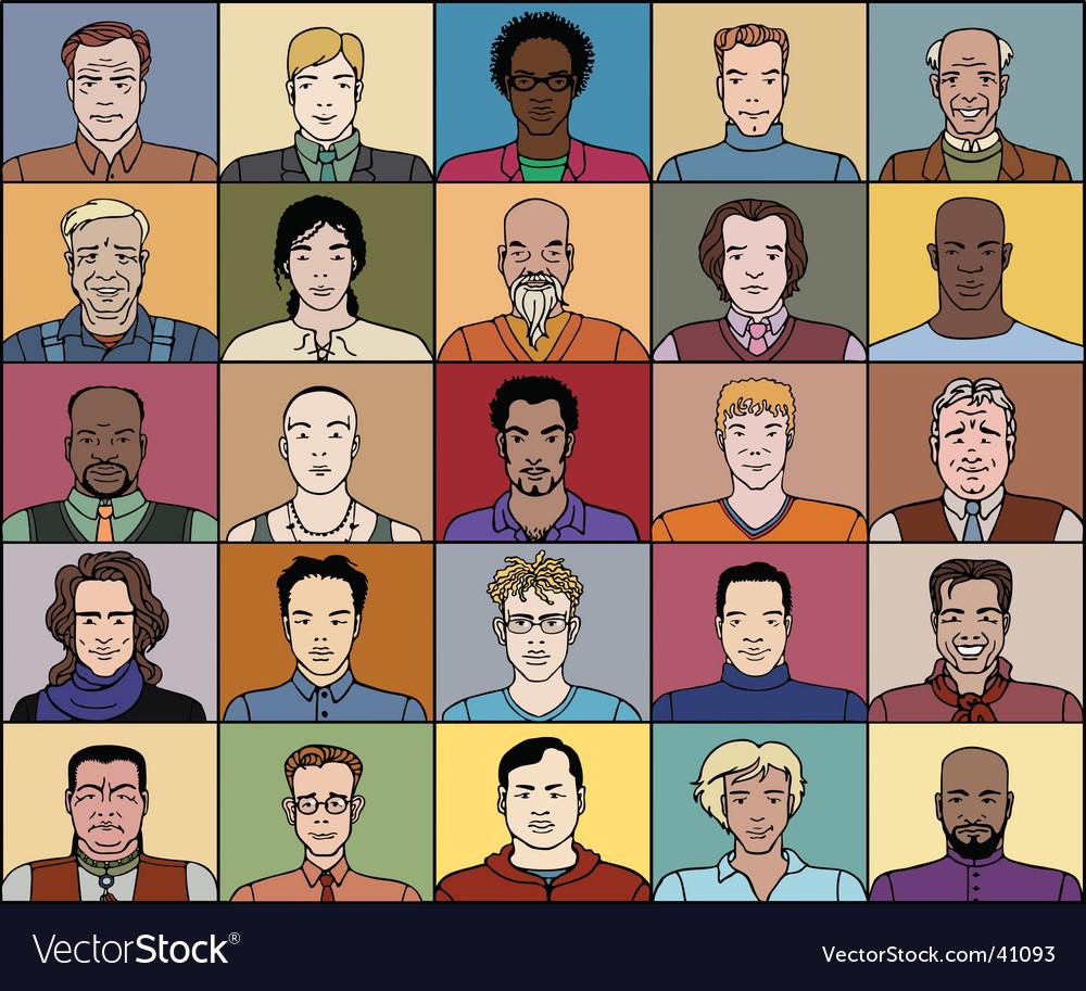 Twenty five adult men vector | Price: 3 Credit (USD $3)