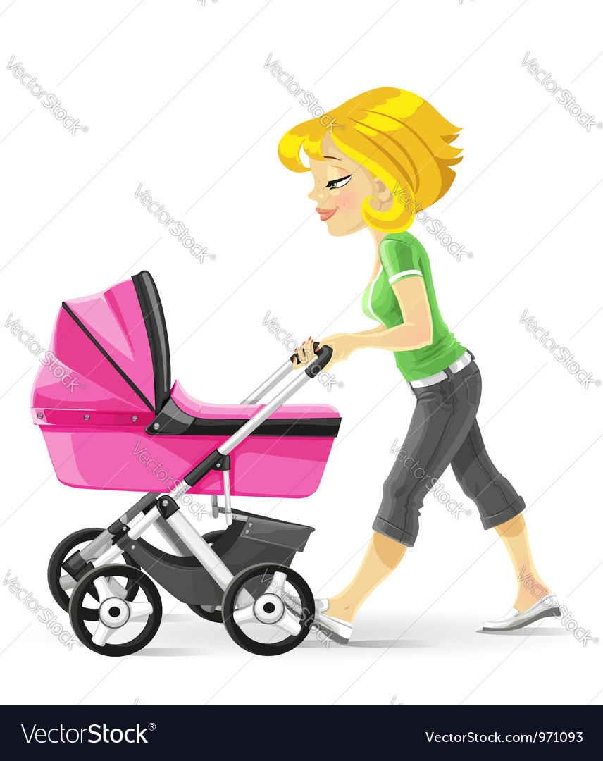 Young mother walking with a pink stroller vector | Price: 3 Credit (USD $3)