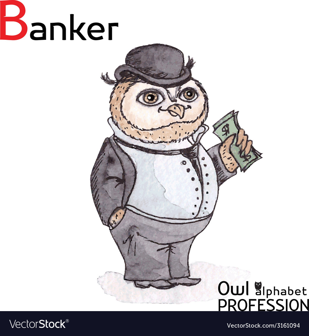 Alphabet professions owl letter b - banker vector | Price: 1 Credit (USD $1)