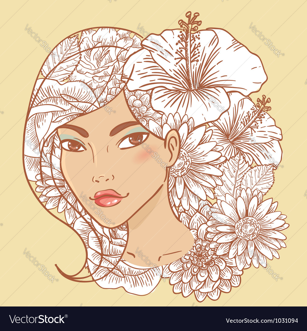 Attractive smiling young woman vector | Price: 1 Credit (USD $1)
