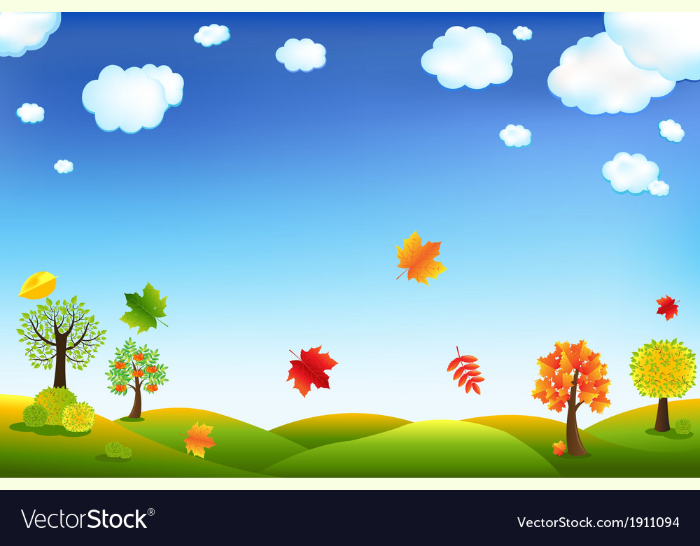Autumn cartoon landscape vector | Price: 1 Credit (USD $1)
