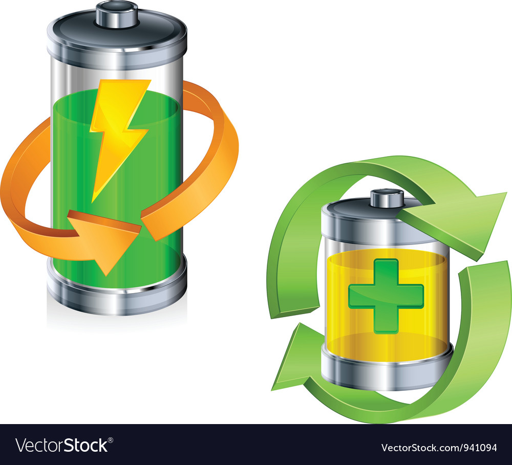 Battery recycling concept color v vector | Price: 3 Credit (USD $3)