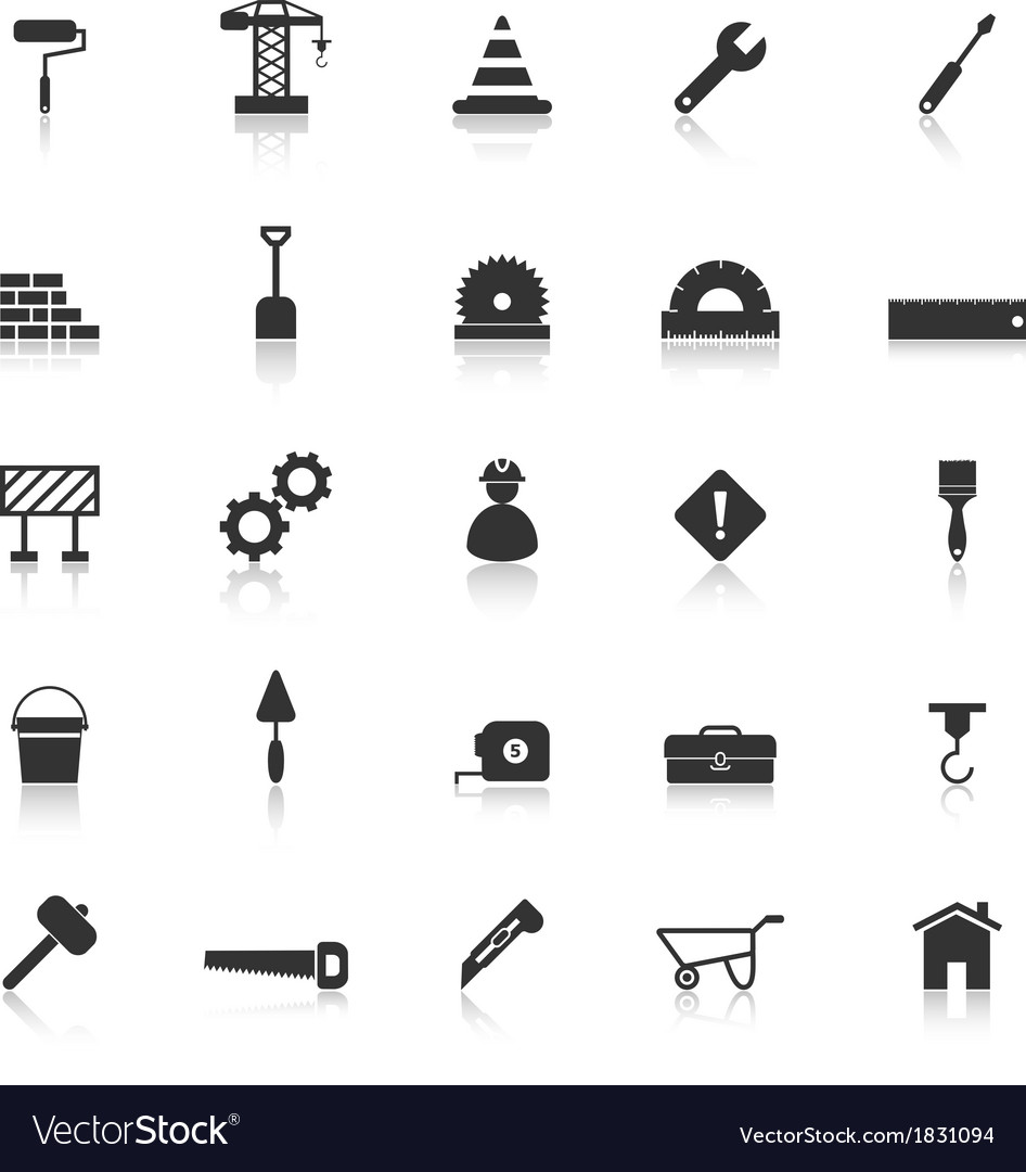 Construction icons with reflect on white vector | Price: 1 Credit (USD $1)