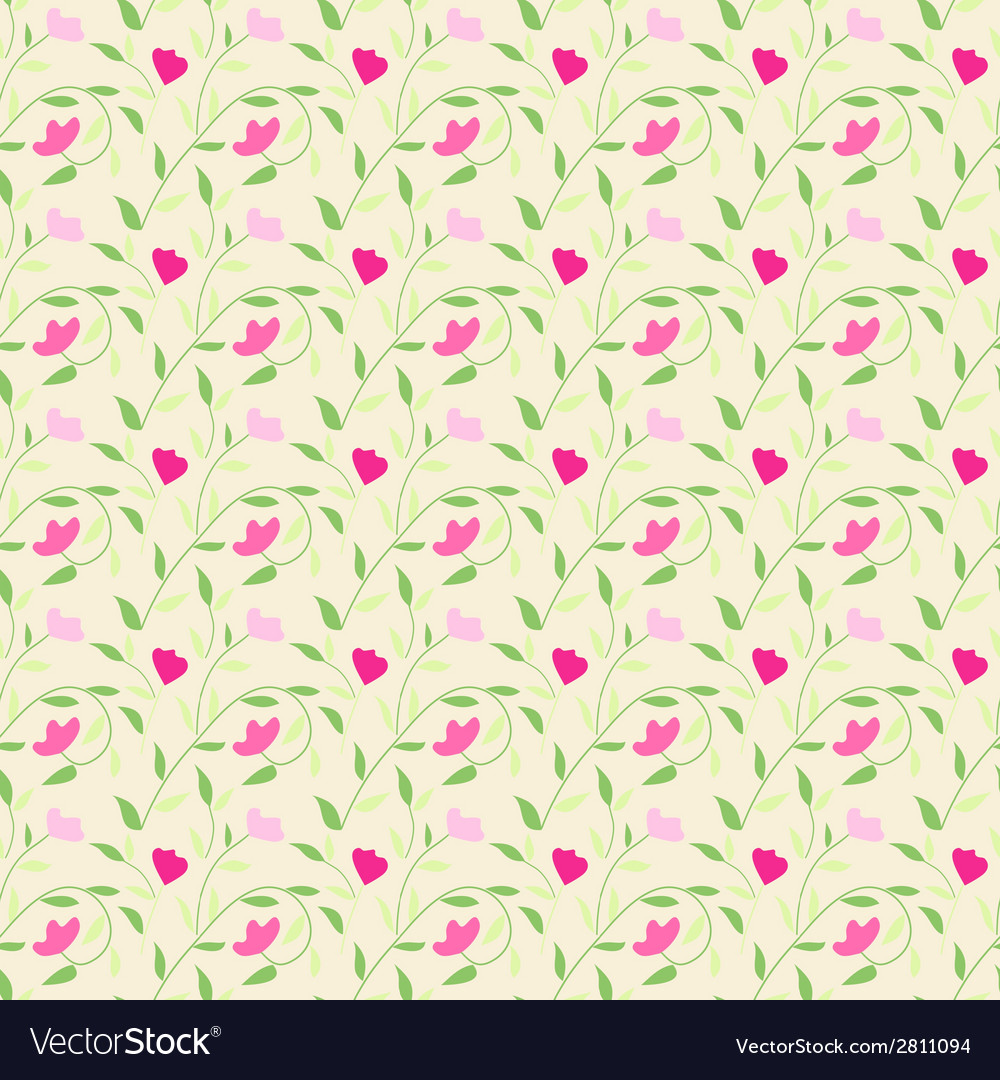 Cute style seamless background floral pattern vector | Price: 1 Credit (USD $1)