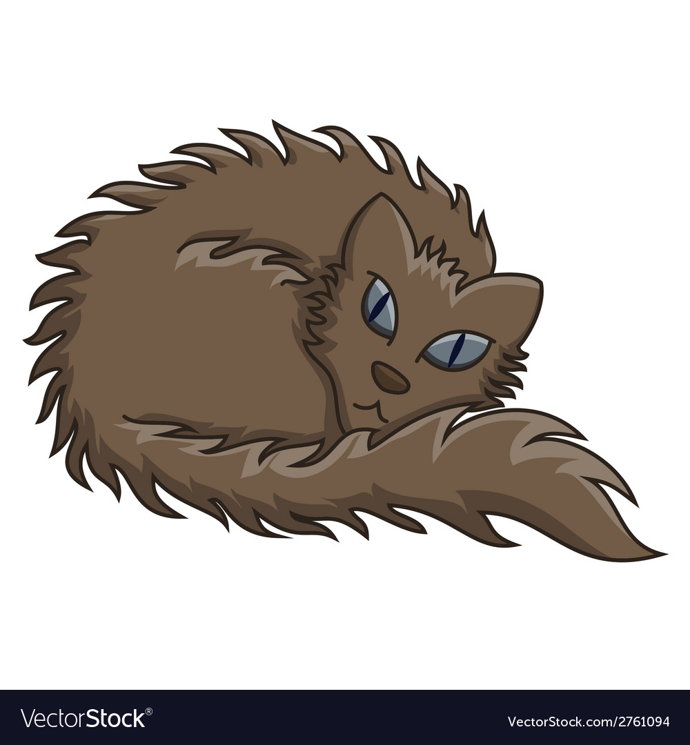 Dark brown fluffy cat vector | Price: 1 Credit (USD $1)