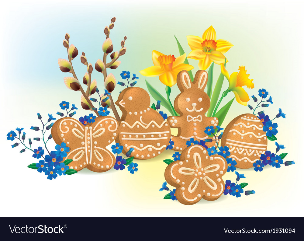 Easter composition of cookies and flowers vector | Price: 1 Credit (USD $1)