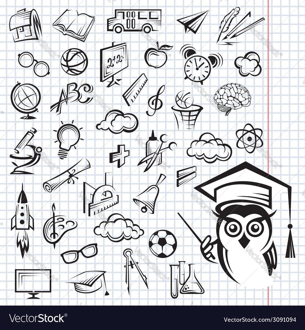 Education icon set vector | Price: 1 Credit (USD $1)