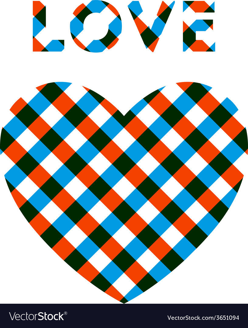 Heart with checker pattern vector | Price: 1 Credit (USD $1)