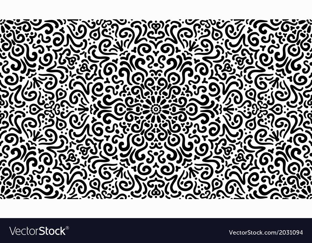 Intricate fantasy black seamless pattern vector | Price: 1 Credit (USD $1)