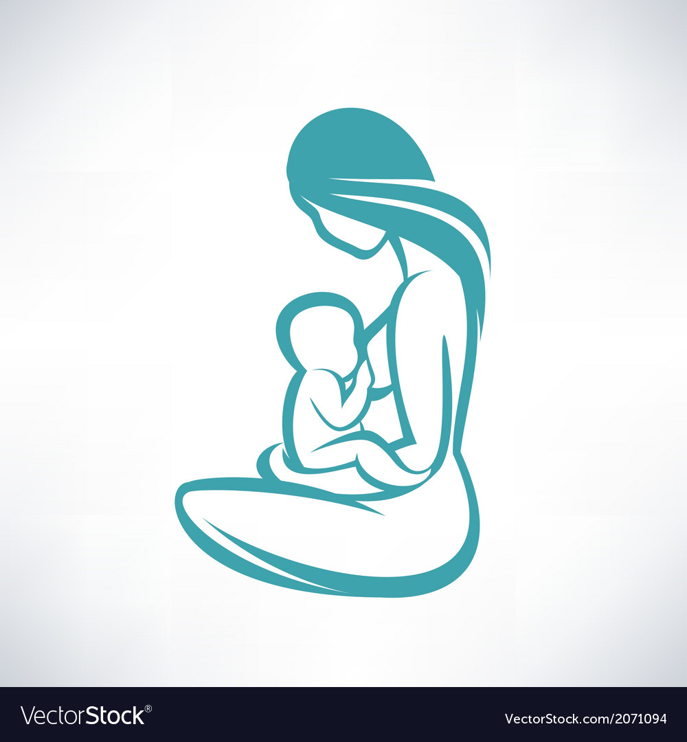 Mother breast feeding her baby vector | Price: 1 Credit (USD $1)