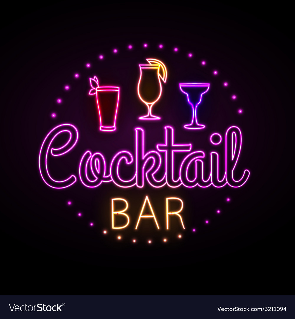 Neon sign cocktail bar vector | Price: 1 Credit (USD $1)
