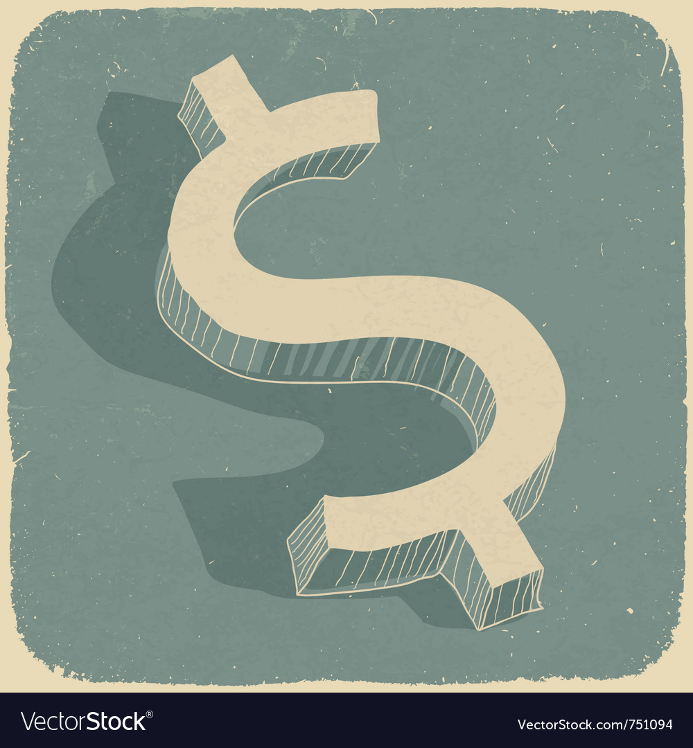 Retro dollar sign vector | Price: 1 Credit (USD $1)