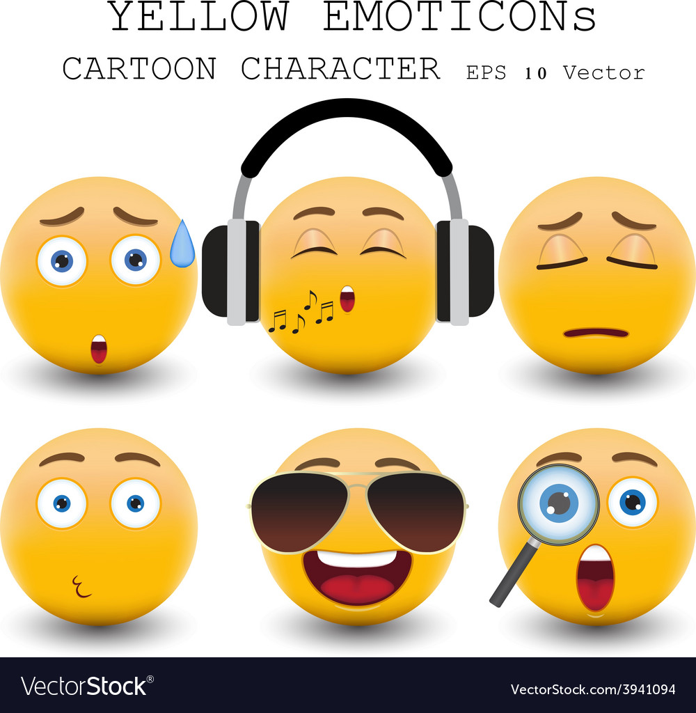 Yellow emoticon vector | Price: 1 Credit (USD $1)