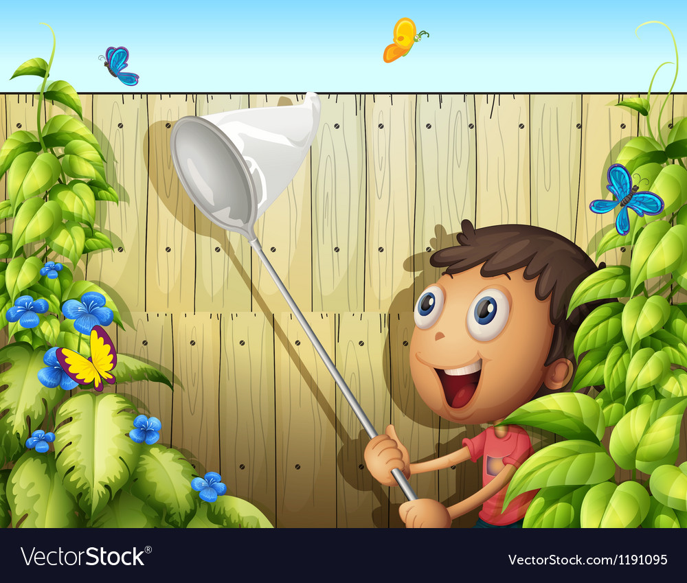 A butterfly catcher inside a yard with fence vector | Price: 1 Credit (USD $1)