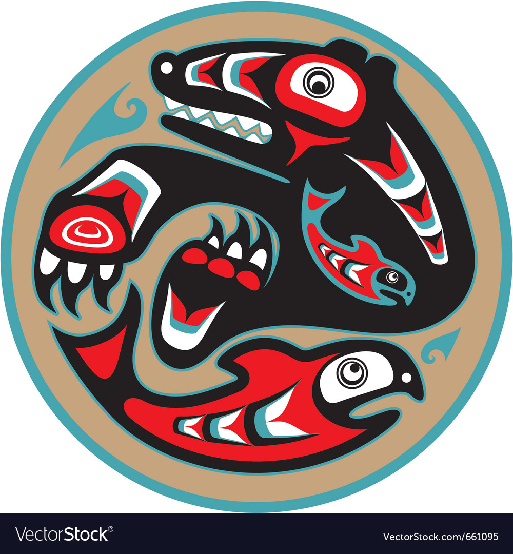 Bear catching salmon - native american style vector | Price: 1 Credit (USD $1)