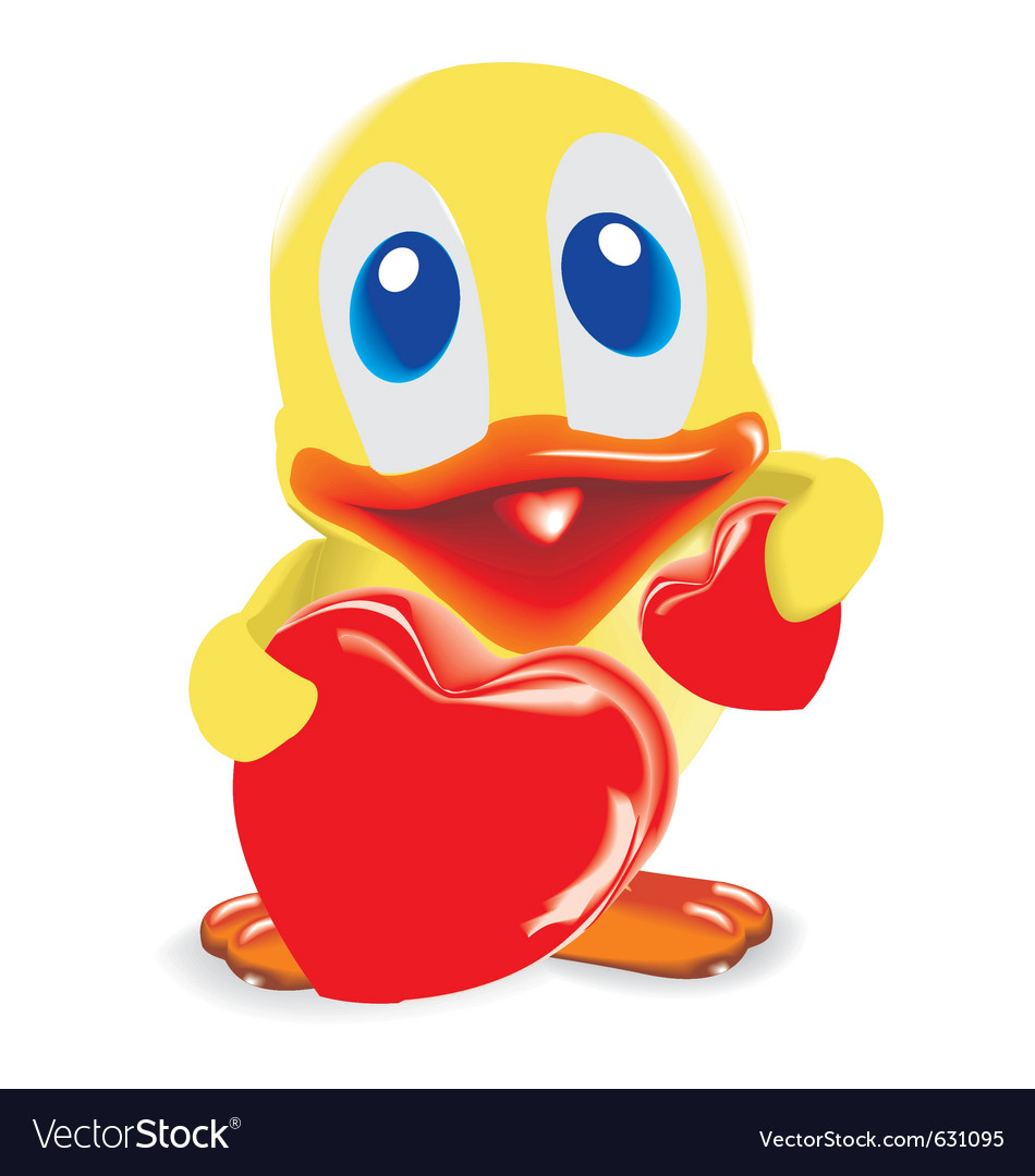 Duck with two hearts vector | Price: 1 Credit (USD $1)
