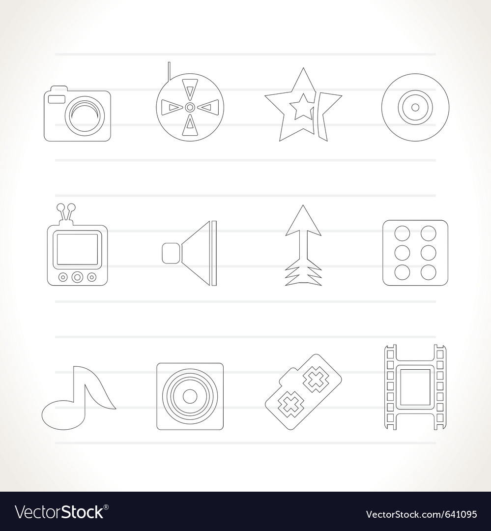 Entertainment and media icons vector | Price: 1 Credit (USD $1)
