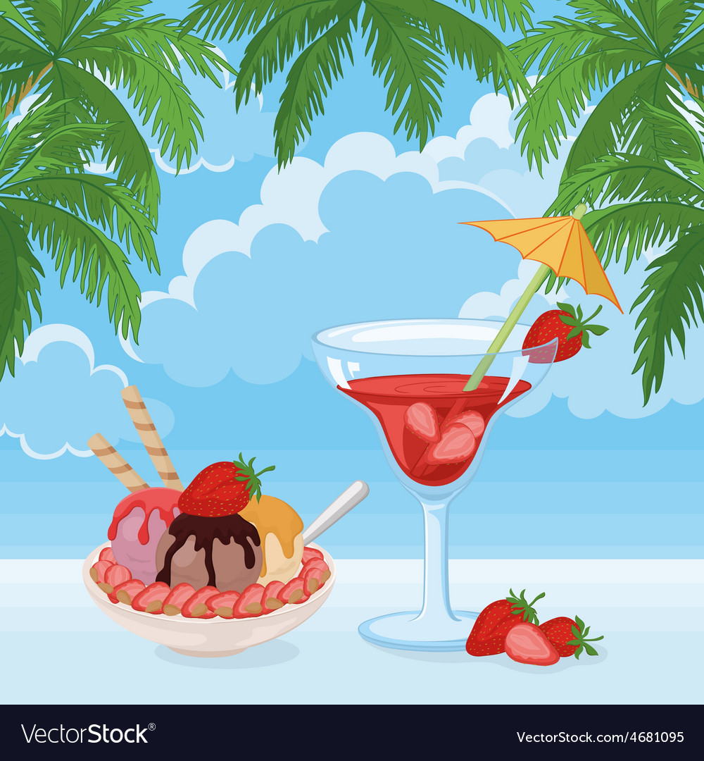 Ice cream berry cocktail sky clouds and palms vector | Price: 1 Credit (USD $1)