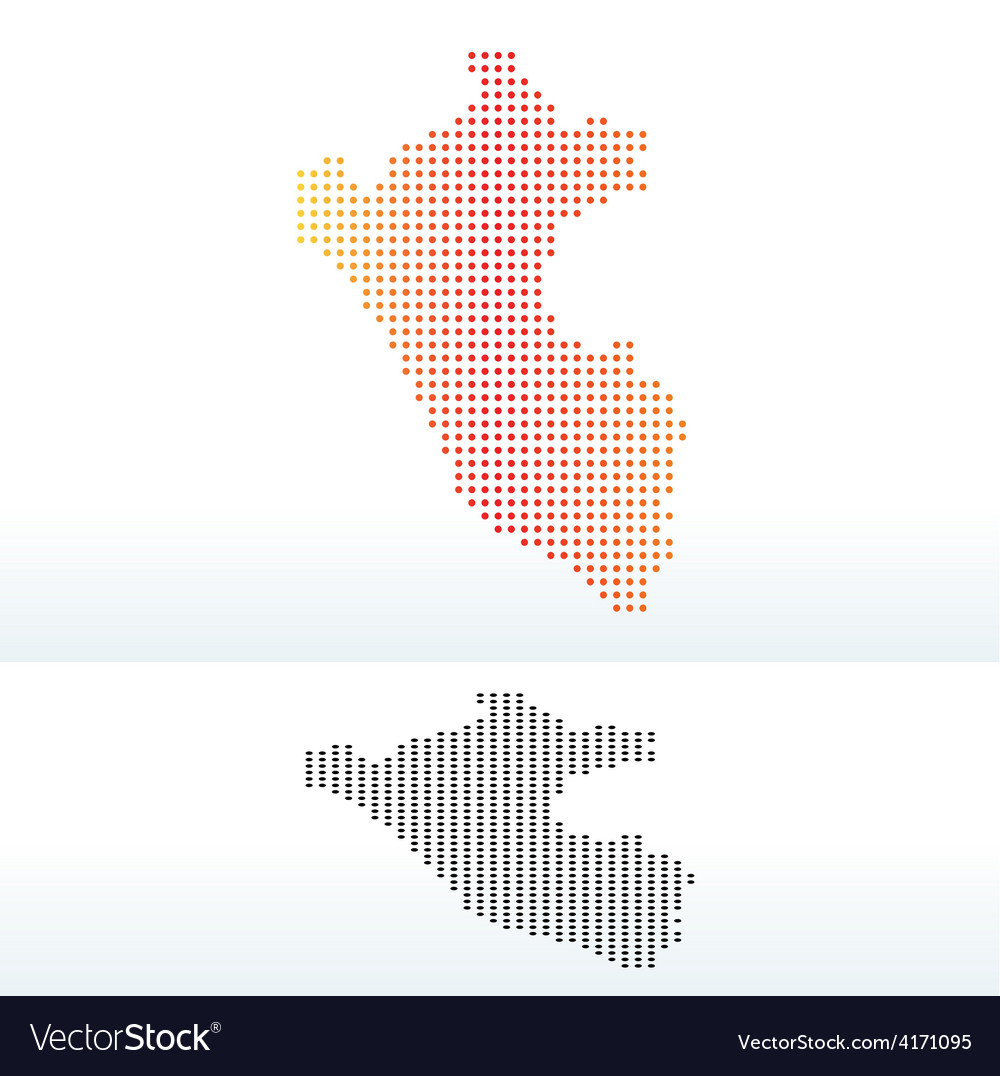 Map of republic peru with dot pattern vector | Price: 1 Credit (USD $1)