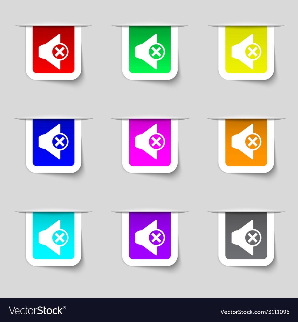 Mute speaker sign icon sound symbol set of vector   Price: 1 Credit (USD $1)