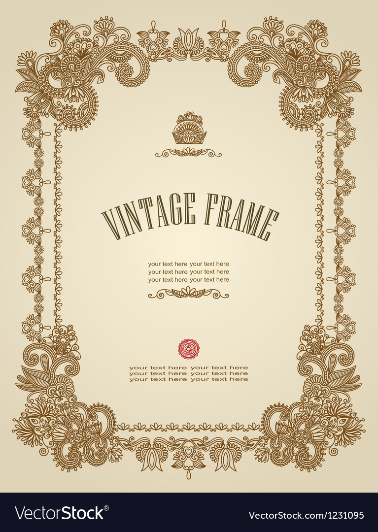 Original hand draw ornate floral vintage frame vector | Price: 1 Credit (USD $1)