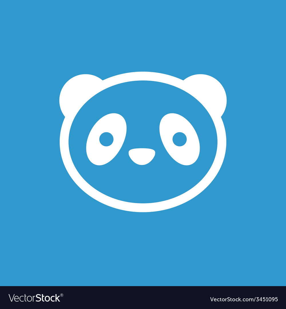 Panda icon white on the blue background vector | Price: 1 Credit (USD $1)