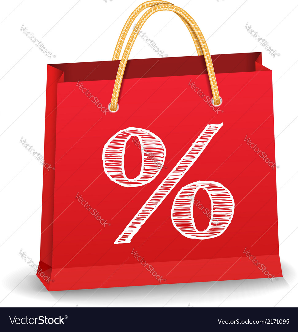 Shopping bag with percent sign vector | Price: 1 Credit (USD $1)