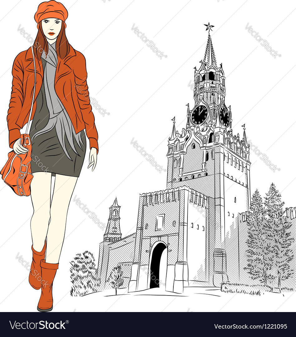 Sketch of the lovely fashion girl in moscow vector | Price: 5 Credit (USD $5)