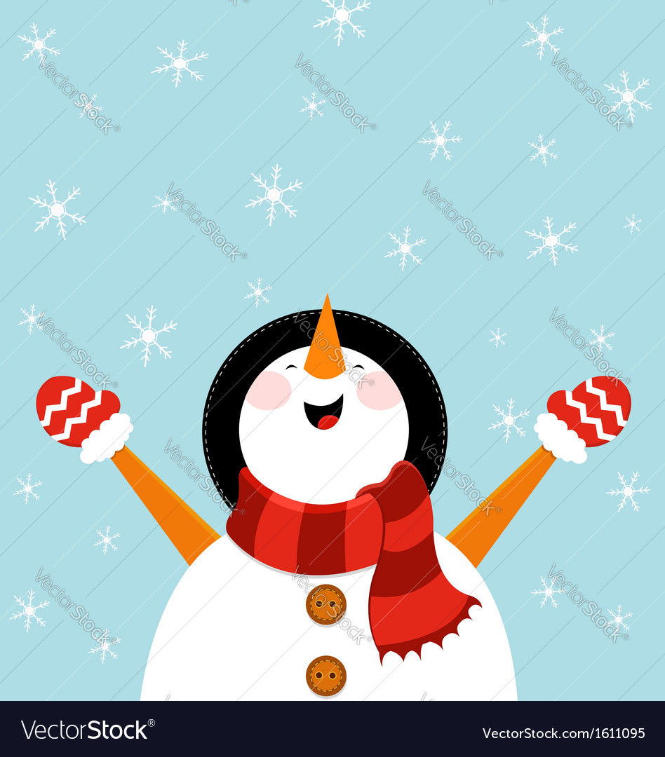 Snowman enjoying snow vector | Price: 1 Credit (USD $1)