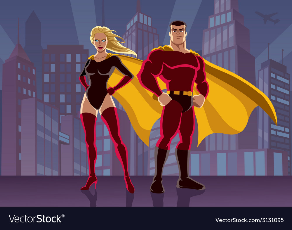 Superhero couple 2 vector | Price: 3 Credit (USD $3)