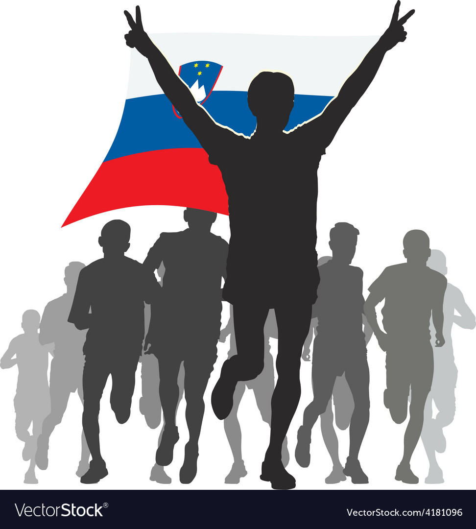 Athlete with the slovenia flag at the finish vector | Price: 1 Credit (USD $1)
