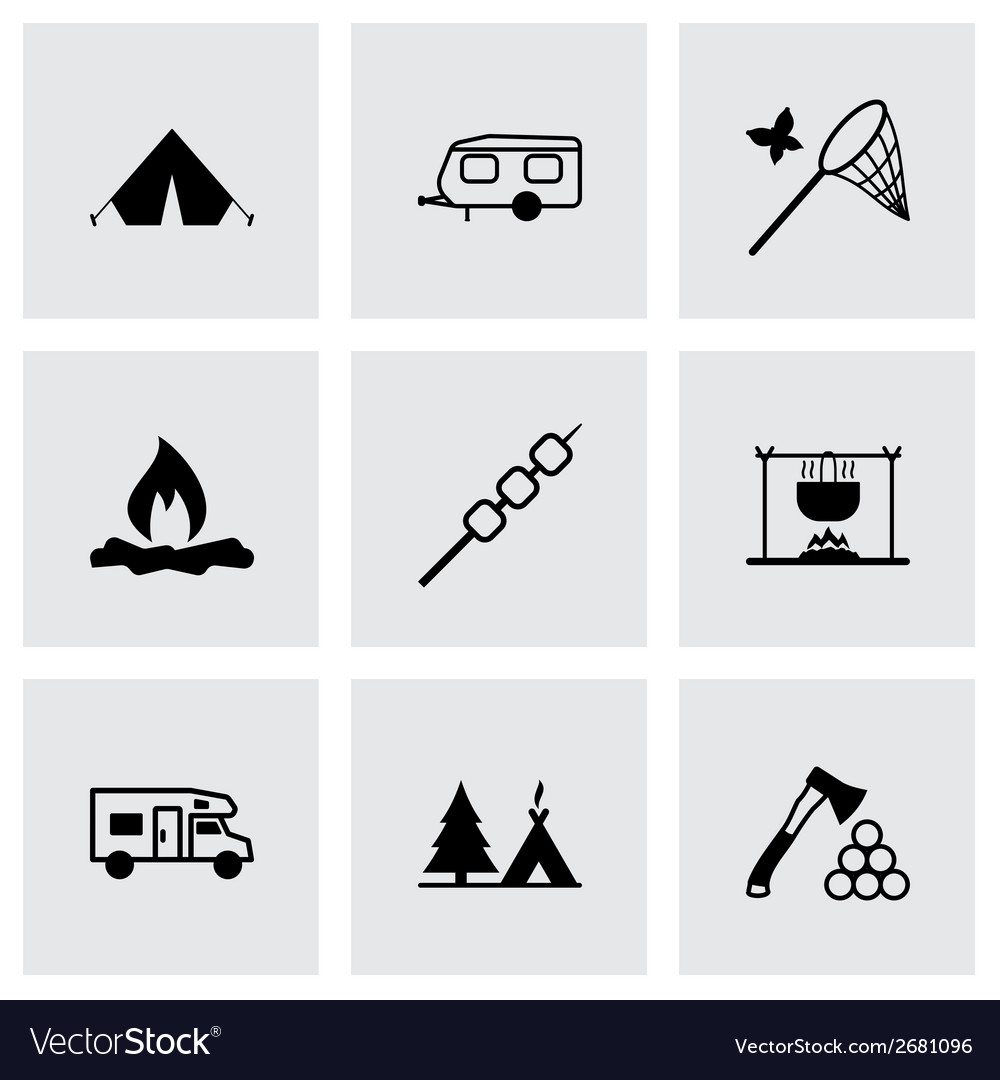 Black camping icons set vector | Price: 1 Credit (USD $1)
