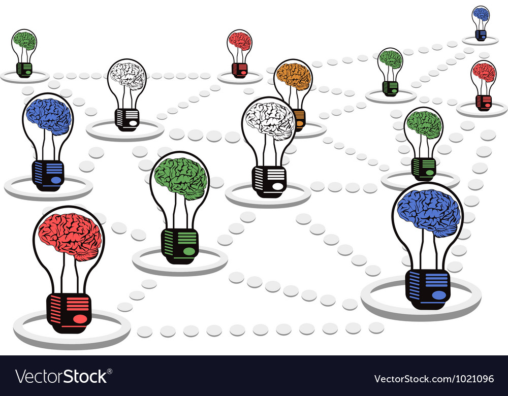 Brain light bulb net work vector | Price: 1 Credit (USD $1)