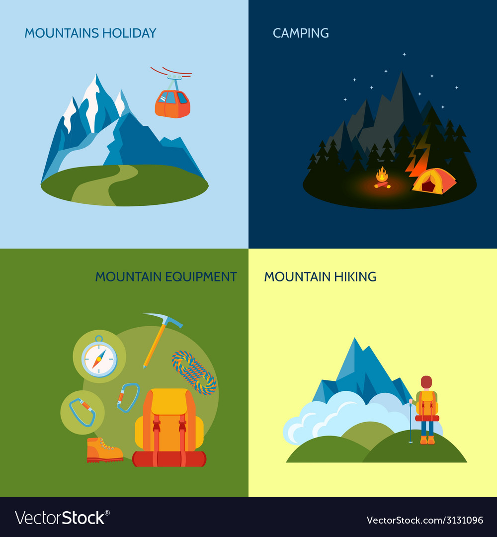 Camping icons set flat vector | Price: 1 Credit (USD $1)