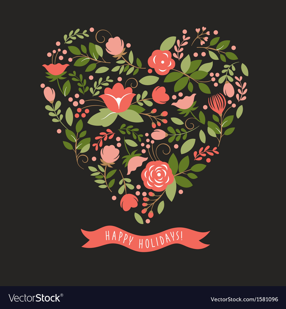 Floral heart on a black background vector | Price: 1 Credit (USD $1)