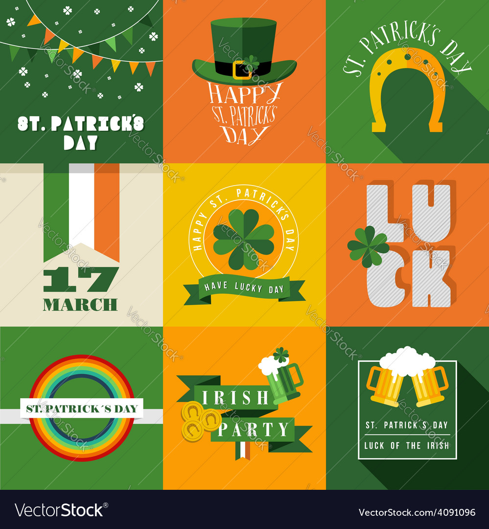 Happy st patricks day label vector | Price: 1 Credit (USD $1)