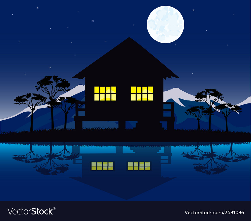 House beside yard vector | Price: 1 Credit (USD $1)