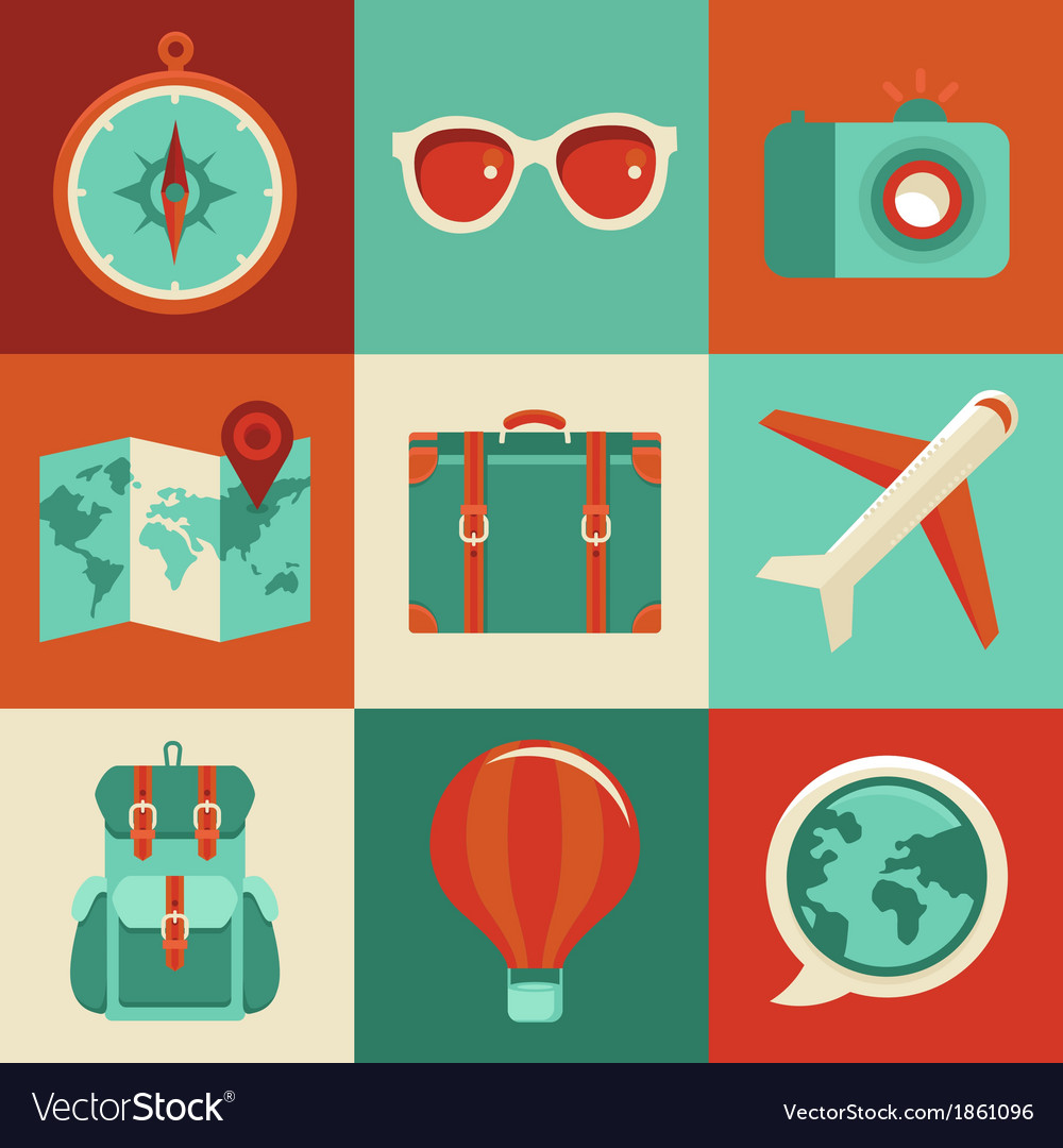 Icons and concepts in flat style - travel and vaca vector | Price: 1 Credit (USD $1)