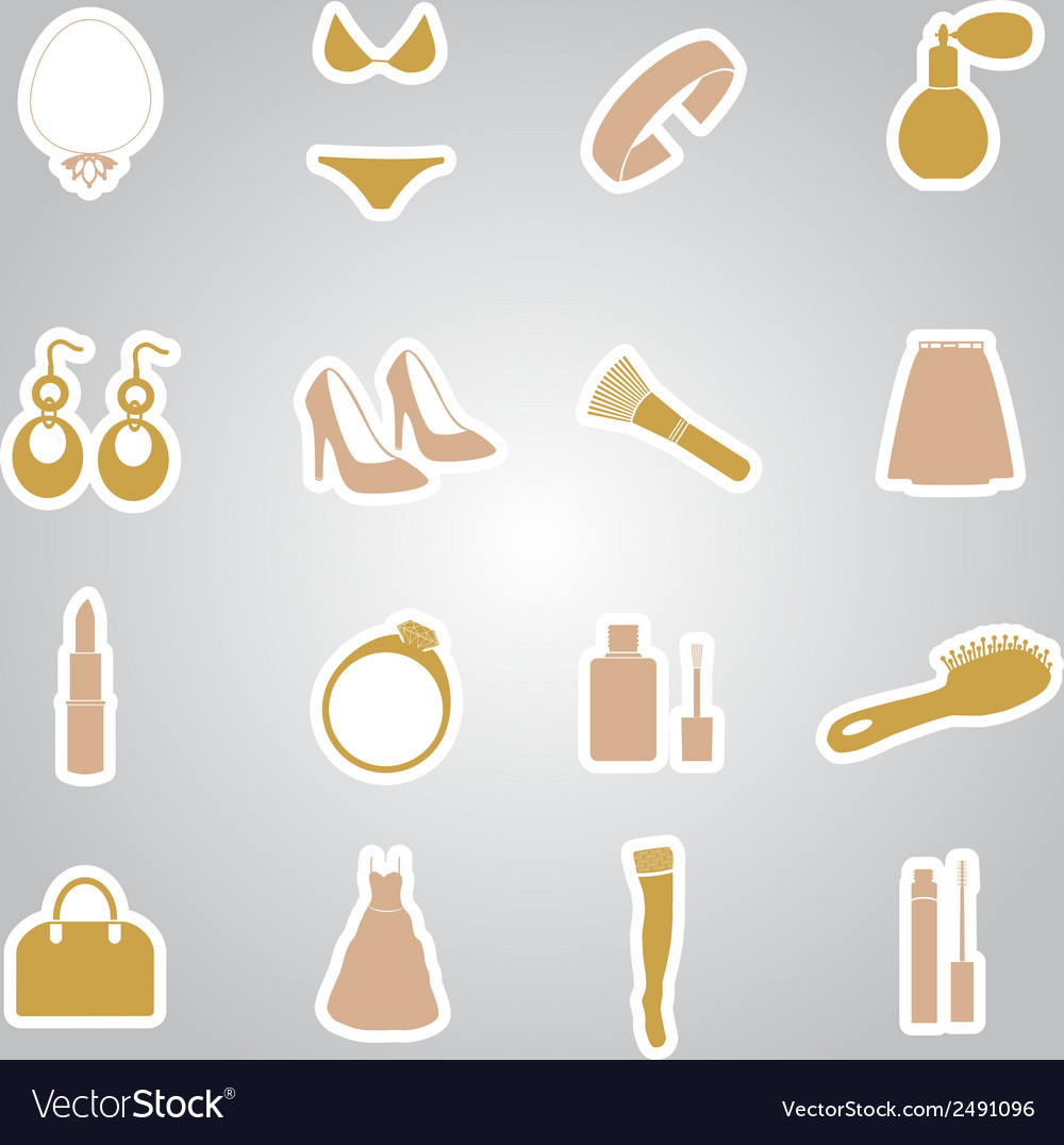 Lady stuff needs stickers set eps10 vector | Price: 1 Credit (USD $1)