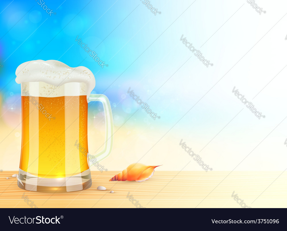 Mug of light beer on summer sea blurred background vector | Price: 3 Credit (USD $3)
