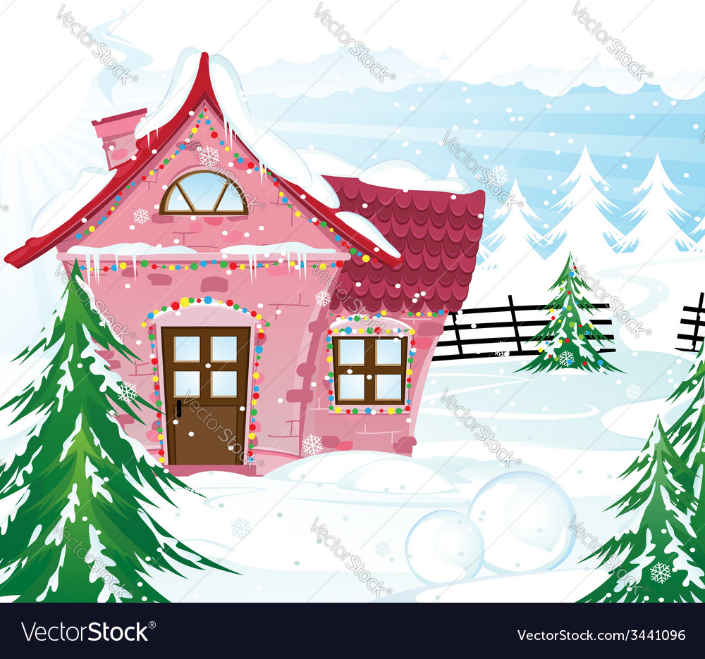 Pink fairy house in winter forest vector | Price: 3 Credit (USD $3)