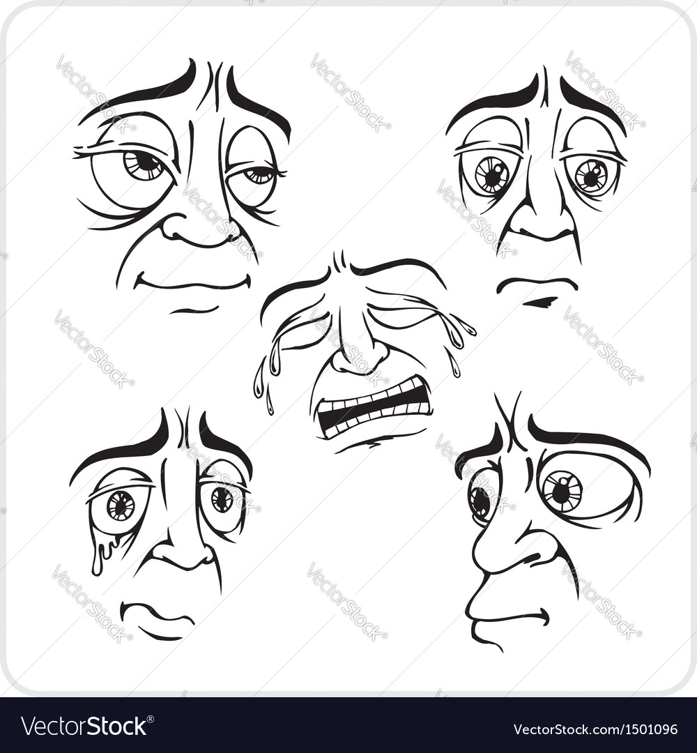 Sad facial expressions - set vector | Price: 1 Credit (USD $1)