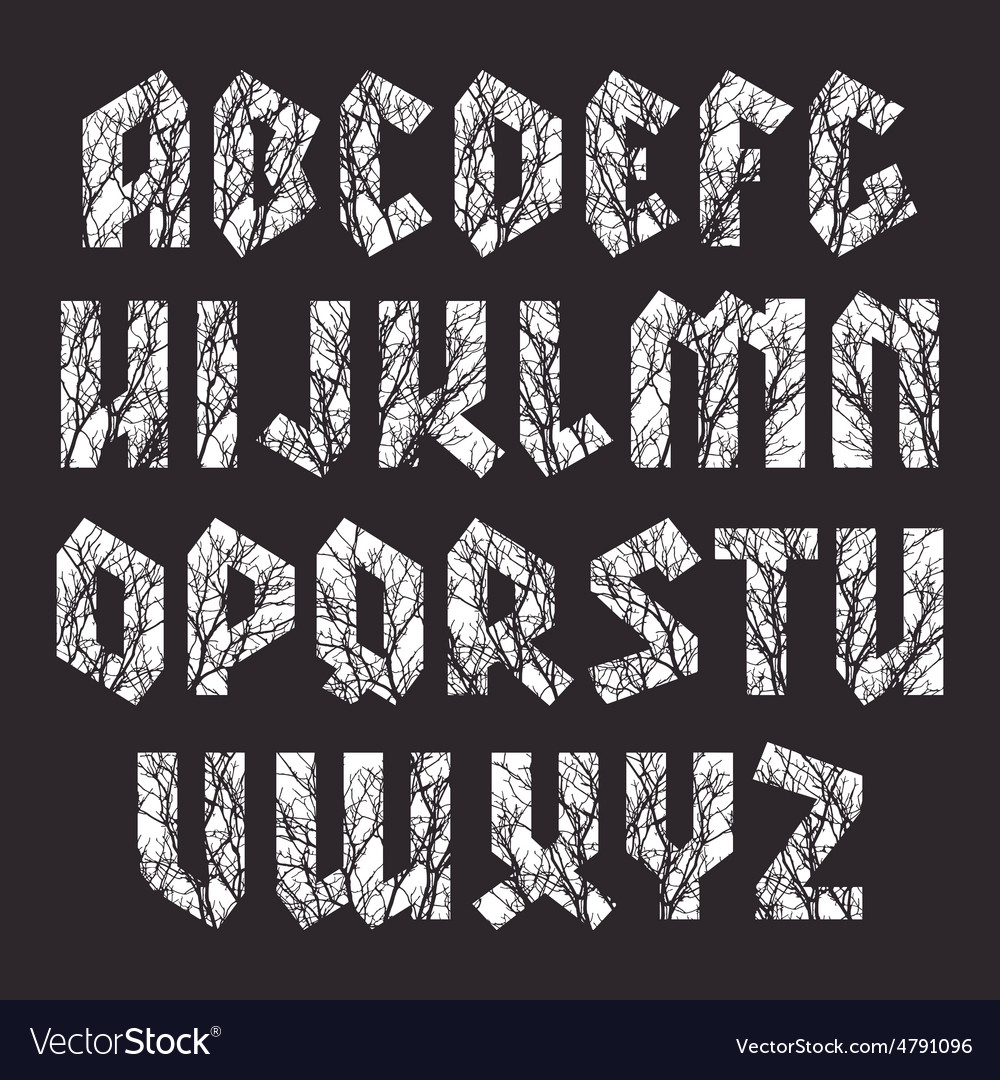 Sans serif geometric font in gothic style vector | Price: 1 Credit (USD $1)
