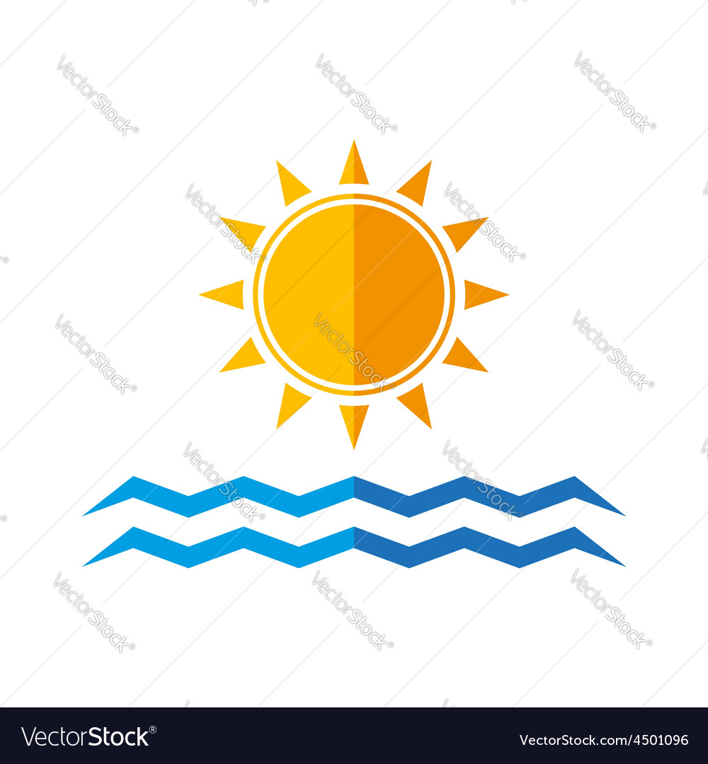 Sun and sea waves vector | Price: 1 Credit (USD $1)