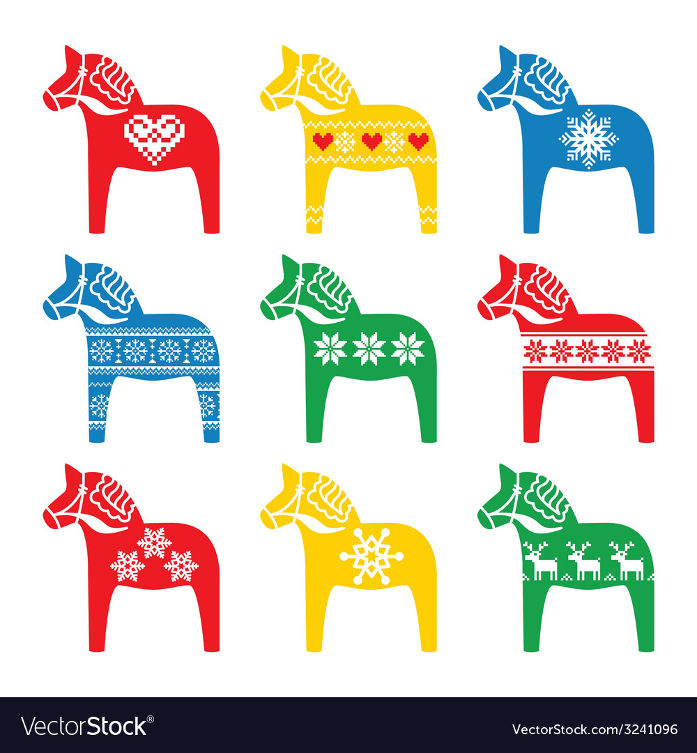 Swedish dala dalecarlian horse with winter style vector | Price: 1 Credit (USD $1)